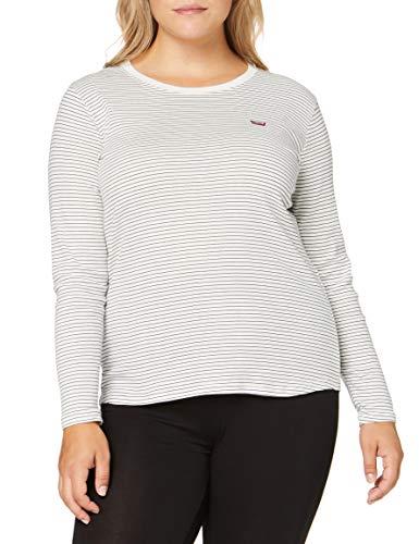 Levi's Plus Size Damen PL Long Sleeve Baby Tee T-Shirt, Agnes Stripe Cloud Dancer, XXX-Large