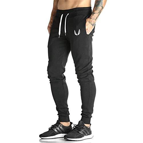 MANATSULIFE メンズ トレーニングパンツ ジム ジョガーパンツ フィットネス スリム スウェットパンツ (L, ブラック)