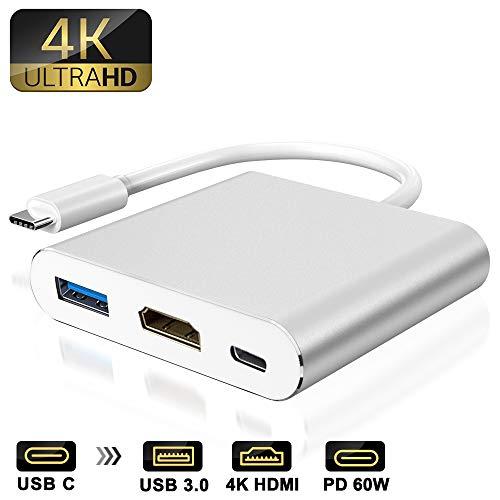 weton Adattatore da Tipo C a HDMI Hub Multiporta Typ C con USB 3.0 e 60W USB C 3.1 PD Porta di Ricarica Adattatore AV Digitale per MacBook PRO
