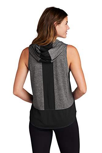 Clothe Co. Women's Ladies Tri-Blend Wicking Hoodie Tank Top,Black/Grey Heather,M