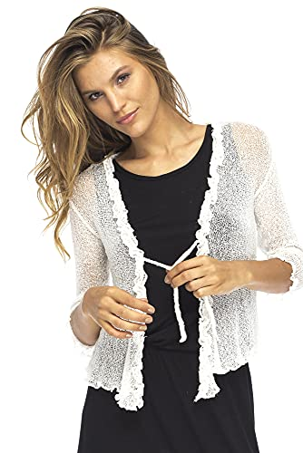 Back From Bali Womens Sheer Shrug Cardigan Sweater Ruffle Lightweight Knit Cream One Size
