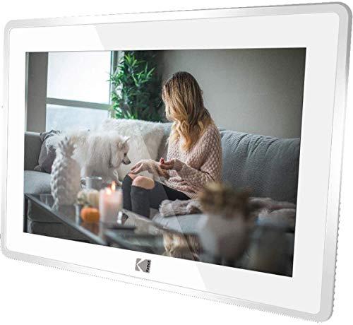 KODAK RCF-106 WLAN Digitaler Fotorahmen 10.1 Zoll, APP Teilen,Touchsreen, Foto/Musik/Video-Player Kalender Wecker Elektronischer Bilderrahmen (Weiß)