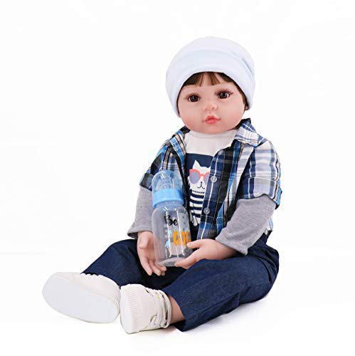Charm Baby Toddler 24' Boy Soft Viny Reborn Doll Checked Shirt Jeans and a hat with White Tennis Shoes Set