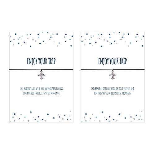 2er Set 2 x Glücks - Armband Enjoy Your Trip - Armband mit Flugzeug Anhänger versilbert, elastischem Textilband in schwarz und liebevoller Karte auf englisch