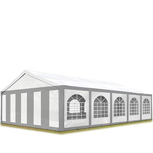 TOOLPORT Hochwertiges Partyzelt 5x10 m Pavillon Zelt ca. 240g/m² PE Plane Gartenzelt Festzelt Bierzelt Wasserdicht grau-weiß