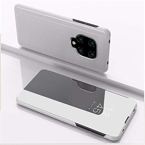 SRGHDD Compatible con Smart View Mirror Cases Xiaomi redmi note9 Note 9 S pro Funda de cuero Funda de teléfono Soporte Xiomi redmi Note 9 9S 9pro Flip Cover (Plata, Redmi Note9/9S)