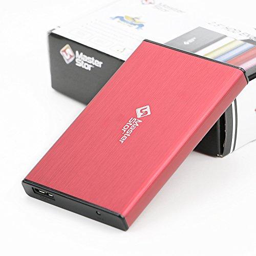 MasterStor pour Windows, MAC Book et MAC disque dur externe lecteur USB 3.0 disque dur ultra rapide disque dur Portable ordinateur portable garantie 1 ans ROUGE (80GB)
