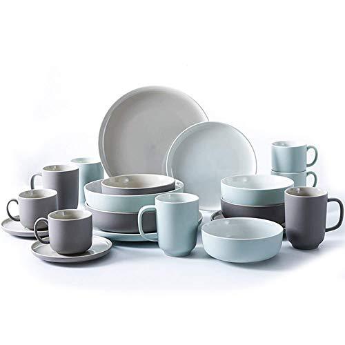 JIAWEI Haushalt Geschirr-Set, Schüssel Teller Geschirr Chinesische Kombination Besteck, Kloß Teller, Sauce Platte, 18 Stück(:Green + Brown