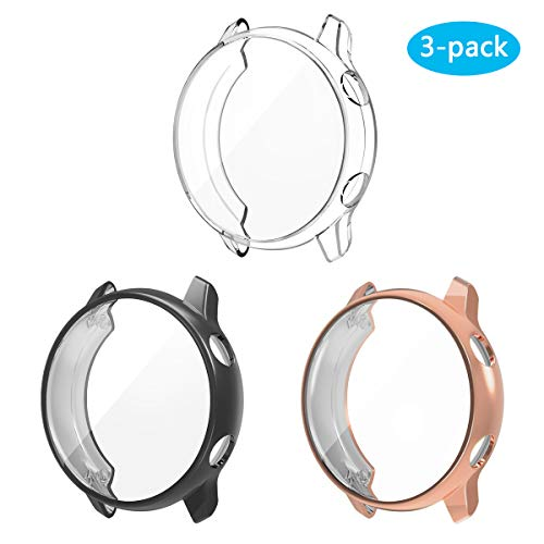 3 Pack Compatible Samsung Galaxy Watch Active Screen Protector Case Cover,YiJYi Ultra Slim Soft Full Coverage Bumper[Sractch-Proof] Protection(Not for Active 2)