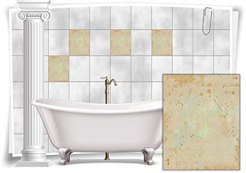 Medianlux Fliesenaufkleber Fliesen Aufkleber Vintage Nostalgie Retro Shabby Chic Rosa Gold Küche Bad WC Deko, 12 Stück, 20x25cm m14m89h-75818