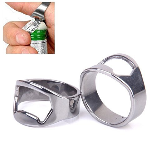 ma-on 2pcs dedo anillo abridor de botella de cerveza de acero inoxidable