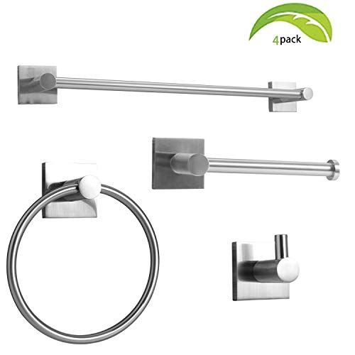 """Brushed Nickel Bathroom Hardware Set of 4, Zinc Alloy Square Wall Mounted Bathroom Accessories Kit- Includes 24"""""""" Towel Bar, Towel Ring, Toilet Paper Holder, Robe Towel Hooks"""