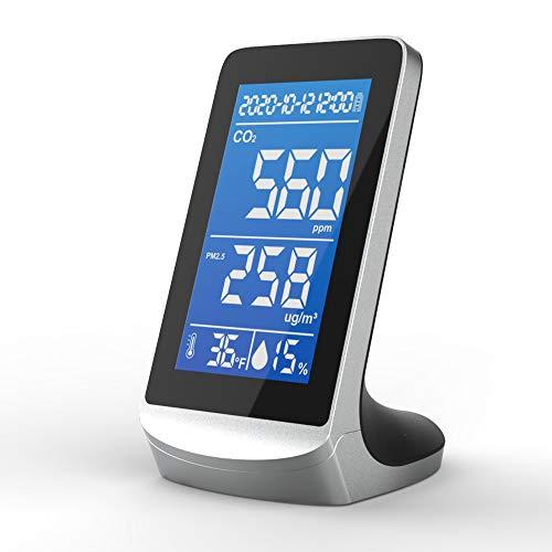 KKmoon CO2 Messgerät 400-5000 ppm CO2 PM2.5 Temperatur Feuchtigkeits Detektor Hochgenaue effiziente Luftqualitätsanalysator mit Infrarot-NDIR-Sensortechnologie Uhrzeit- und Datumsanzeige