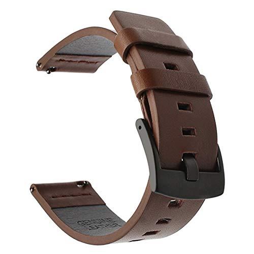 Flyuzi Correa de Cuero Suave para Huawei Watch GT / GT2 46mm Smart Accessory Sport Pulsera Correa para Samsung Active 42mm Watch 20 / 22mm Banda (Band Color : Black Brown, Band Width : 22mm)