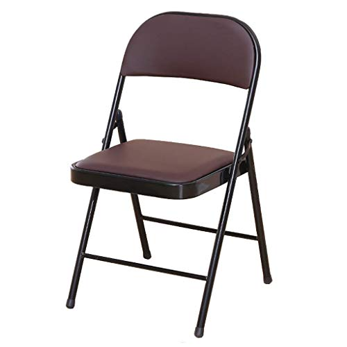 SMX Klappstühle mit Metallrahmen, Home Lounge Chair Tragbare Konferenz Training Computer Stuhl Rückenlehne Stuhl, Faltbare Home Office Party Stuhl Set (Color : Brown)
