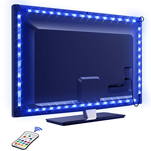 Tira LED TV 2.2M, OMERIL 5050 Tiras LED USB Impermeable con Control Remoto, 16 RGB Colores y 4 Modos, Retroiluminacion LED de TV para Cine en Casa, HD