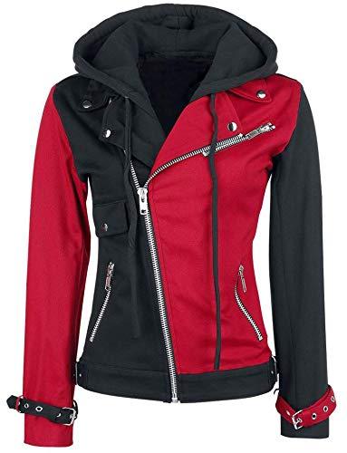 Squad Harley Baumwolle Damen Brando Abnehmbarer Hoodie Kostüm Cosplay Jacke Rot und Schwarz Gr. X-Large, mehrfarbig