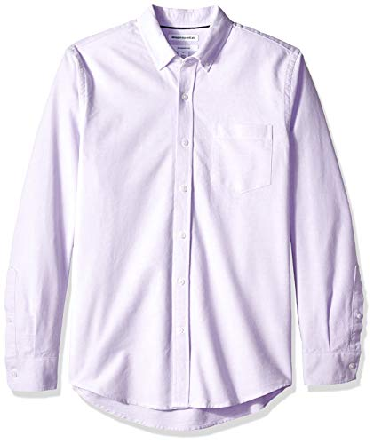 Amazon Essentials Men's Slim-Fit Long-Sleeve Solid Pocket Oxford Shirt, Lavender, XX-Large