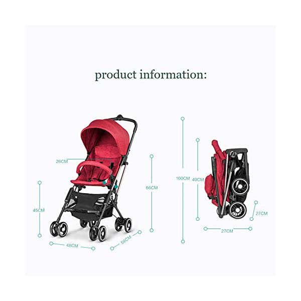 JXCC Baby Stroller Ultra Light Folding Child Shock Absorber Trolley Can Sit Half Lying 6 months-3 years old,25kg maximum -Safe And Stylish Red JXCC 1. {Four seasons are all} - Three sides of the net design, the awning can be adjusted at multiple angles, easy to cope with the sun 2. {Lightweight capsule car} - Weighs only 4.9kg, diamond car, can be on the plane, comfort zone baby 3. {3D Stereo Vibration} - X-frame design, evenly dispersing the upper weight, front wheel built-in suspension, rear wheel frame suspension 5