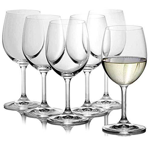 Unishop Set 6 Copas de Vino de Cristal 54CL, Copas de Vidrio para Vino y Agua, para Uso en Casa, Restaurante y Fiestas