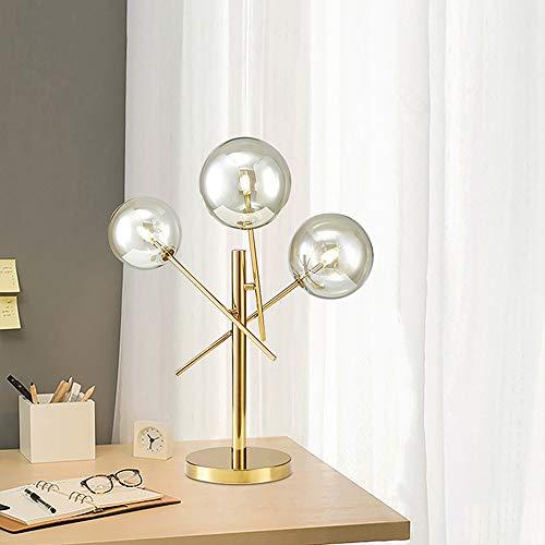 YesVCTR Lámpara De Vidrio Mesa De Bolas Cálida Arte Creativo Personalidad Escritorio Ligero Deco Minimalista Salón Ángulo Oficina De Cabecera del Dormitorio Moderno Ajustable LED (Color : Clear)