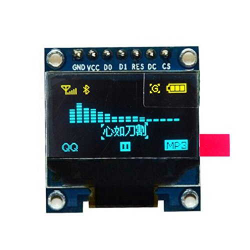 HiLetgo 0.96' SPI Serial 128X64 OLED LCD Display SSD1306 for 51 STM32 Arduino Font Color Yellow and Blue