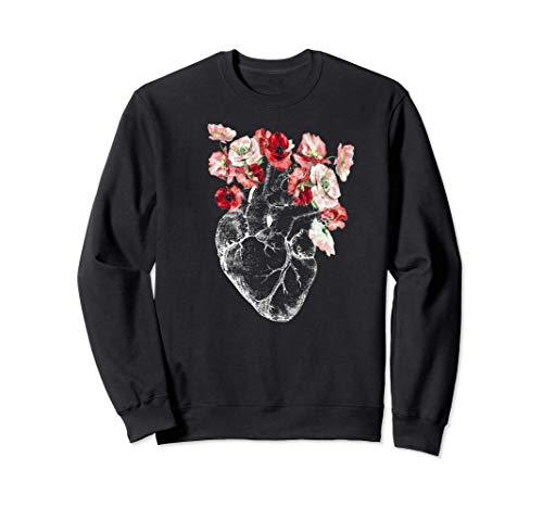 Corazón y flores anatómicas Sudadera