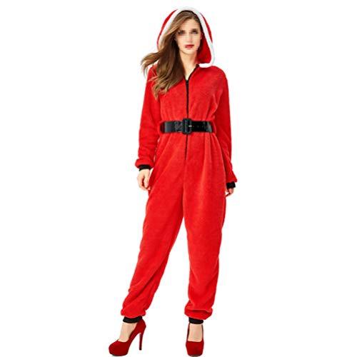TENDYCOCO Kerstman Onesies Vrouwen Kerst pyjama Hooded Rompers Xmas Kostuum Jumpsuit voor Volwassenen Dames - Maat S