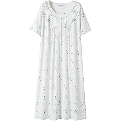 Keyocean Nightgown for Women, All Cotton Short Sleeves Long Soft Women Sleepwear Nightdress Lounge-wear, Cream, Medium from Keyocean