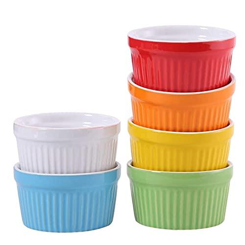 JWDS Ensaladera Horno De 140 Ml Sofffle Ramekins Para Crema Pastel De Hornear Conjunto De 6 Coloridos