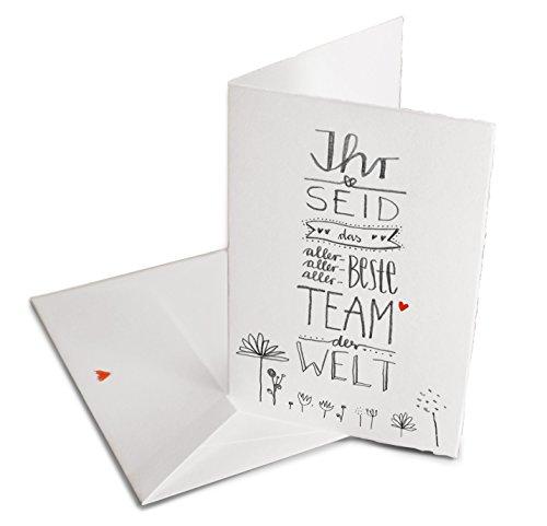 Glückwunschkarte für das beste Team der Welt - Grußkarte oder Dankeschön Karte zum Abschied, zu Weihnachten oder zwischendurch, Klappkarte aus Bütte inkl. Umschlag