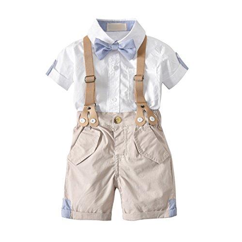 WangsCanis Conjunto para bebé de Gentiluomo de 2 piezas, pelele de manga corta con pajarita + peto corto con tirantes para bebés de 0 a 24 meses #105 Blanco + Kaqui 3- 4 años