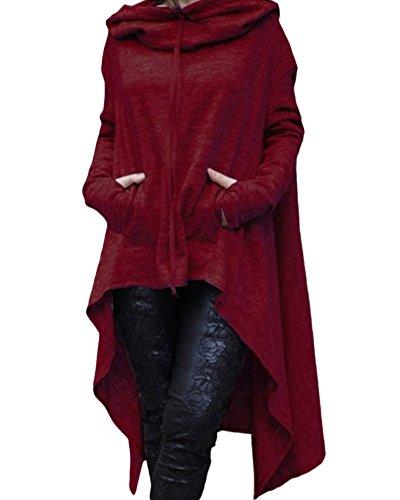 Femme Loose Manches Longues Hoodies Ourlet irrégulier Oversize Sweats à Capuche Sweatshirt Vin Rouge XXXL
