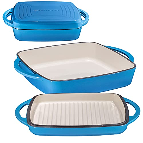 Bruntmor Enameled Square Cast Iron Large Baking Pan. Cookware Baking Dish With Griddle Lid 2-in-1 & Double Handle for Casseroles Lasagna, 10-inch Multi Baker for Oven & Stove, Blue Whale