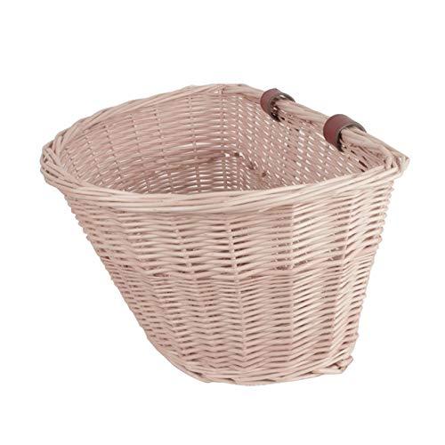 Dream-cool Bike Basket Adulto Anteriore in Vimini Bicicletta Manubrio Bici Canna Intrecciata Cestino Rettangolare con Cinghie in Pelle autentica Semi-Circular Large Size Does Not Spray Oil