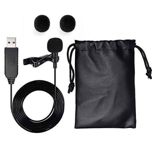 USB Microfoon, Mini Clip-On Draagbare Lavalier Microfoon voor Laptop/pc, Microfoon voor Internet Recording Chat en Karaoke(Zwart)