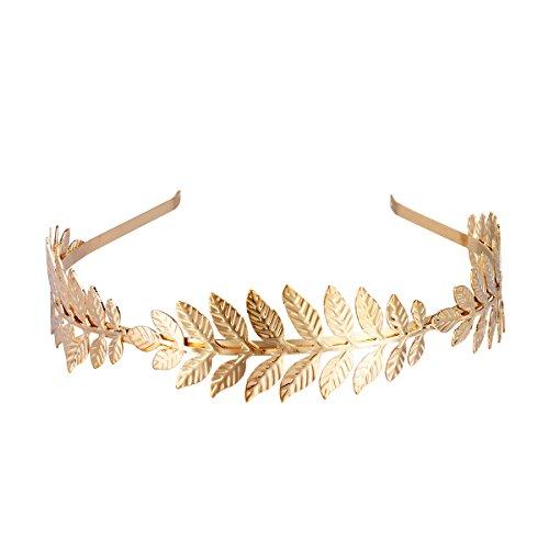 LUOEM Corona de pelo nupcial Diosa romana rama de la hoja Dainty banda de pelo banda tiara (oro)