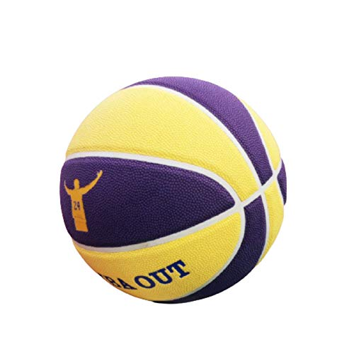 LDLXDR Balones de Baloncesto- Basketball No. 7 Kobe PU Cuero Juego de Baloncesto, Utilizado para Entrenamiento en Interiores y Exteriores, Aprendizaje de Baloncesto,Yellow-1