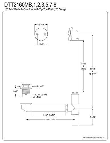 Kingston Brass DTT2162 Tip-Toe Bath Tub Drain and Overflow, Polished Brass