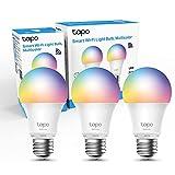 【NUEVO】TP-Link - Bombilla LED Inteligente, Bombilla WiFi, Multicolor, Regulable, E27, 8.7W 806lm, Compatible Alexa, Echo y Google Home, Tapo L530E(3-pack)