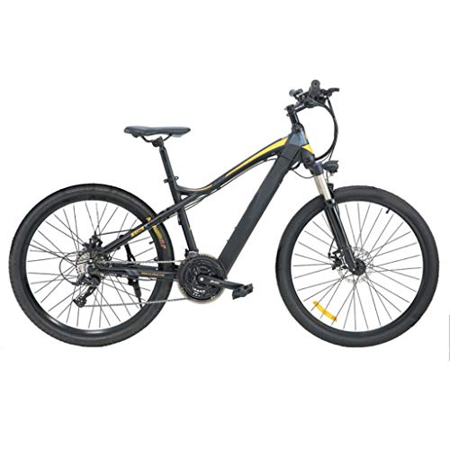 FFF-HAT 27.5-inch Stealth Lithium Battery Electric Mountain Bike 27-speed Variable-speed Long-distance Off-road Bicycle Shock Absorption and Comfort-Gray Riding Version