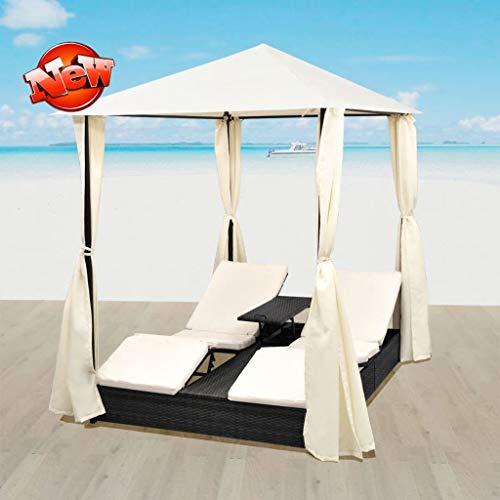 Jresboen - Tumbona doble con cortina, ajustable, para 2 personas, sofá de jardín con dosel y 2 cojines cómodos para sentarse, sofá para dormir al aire libre, color negro