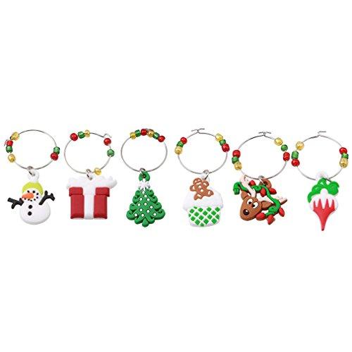 HENGSONG 6 Stück Weihnachten Serie Glasschmuck Glasmarkierer Anhänger, Weinglas Anhänger, Wein Glas Charms, Weinglasanhänger, Markierer für Weingläser Set Fancy Rings