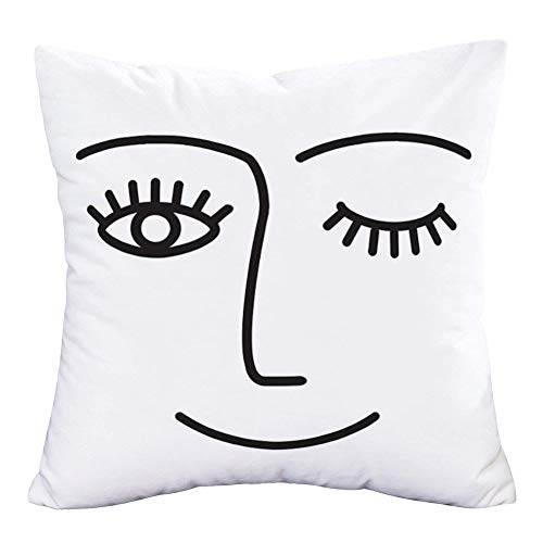 Easternproject Wink Throw Pillow Cover Face with White Black Lash Eyes Closed Eyelash Smile Girl Pillow Cases 18x18 Inch Super Soft Cushion Cover Pillow Shams for Home Sofa Couch Bedroom (Winky Face)