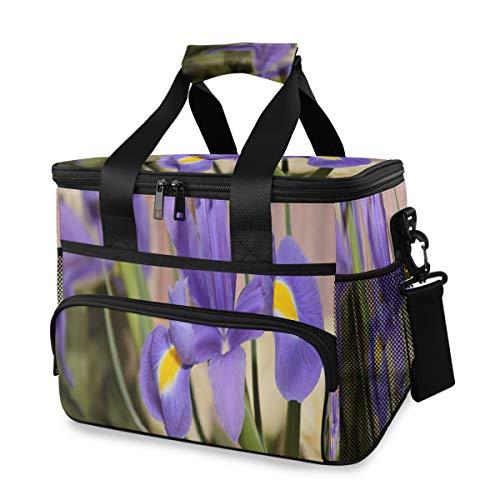 Fourre-tout sac à lunch pour hommes floraison fleur d'iris dans une prairie bricolage boîtes à lunch sac isotherme avec sangle d'épaule réglable pour camping pique-nique déjeuner barbecue plage