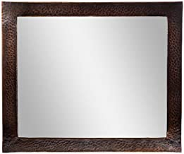 The Copper Factory CF138AN Solid Hammered Copper Framed Rectangular Mirror, Antique Copper