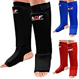 AQF espinilleras Kick Boxing de Espuma con Almohadilla de Tela elástica Soportes Protectores para Boxeo Protectores para piernas y el Empeine (par)