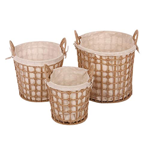 Heding Storage Basket Oval With Handle Hand Weaving Cotton Lining Paper Rope Bedroom Sundries, 3 Sizes (Color : NATURAL, Size : NATURAL)