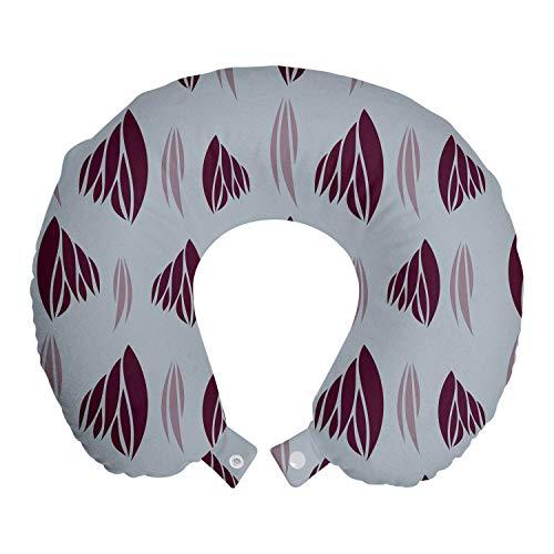 ABAKUHAUS Astratto Cuscino da Viaggio, Surreale Leaf Come Motivi, Accessorio in Schiuma di Memoria per Viaggio, 30 cm x 30 cm, Purpleblue scuro Fucsia