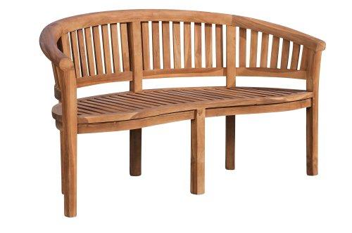 Banc de Jardin en Bois de Teck Winnipeg V2 - Banquette de Jardin en Bois avec Dossier - Résistante aux Intempéries - Chaise de Jardin en Bois 3 Places Assises, Couleurs:Teck, Taille:150 cm